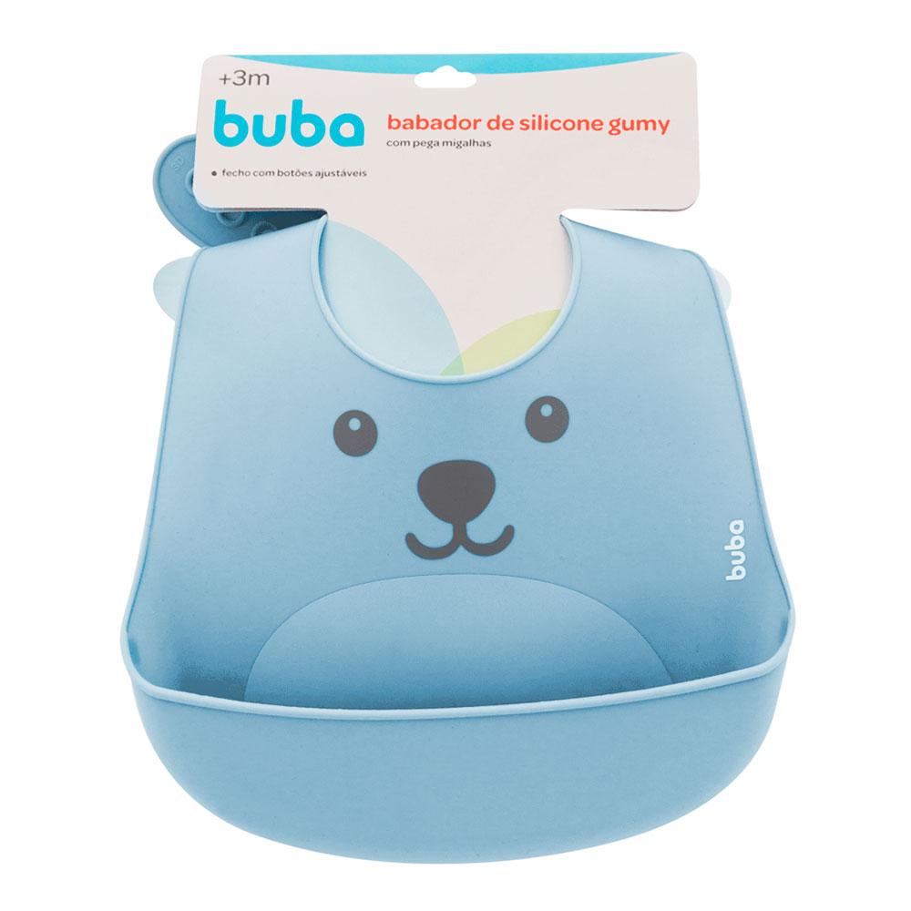 Babador De Silicone Com Pega Migalhas Gumy - Azul Buba - 12092