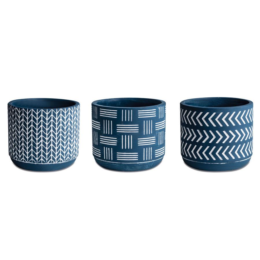 Kit Cachepot Azul em Cimento - 3 Pçs