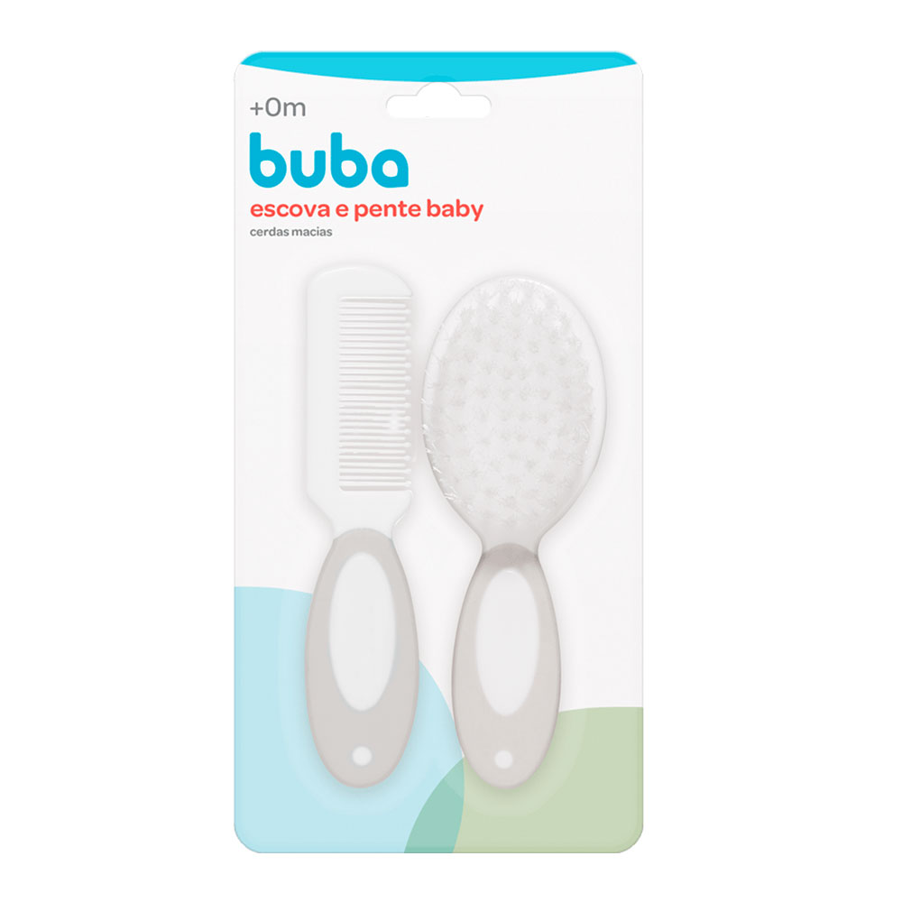 Escova e Pente Baby - Cinza Buba - 12641