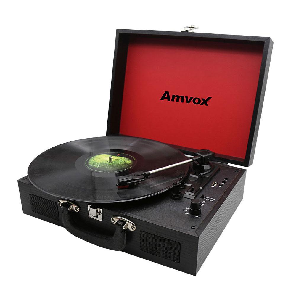 Caixa de Som Portátil Case em Madeira Vitrola USB/AUX 10W RMS AMVOX AVT 1199