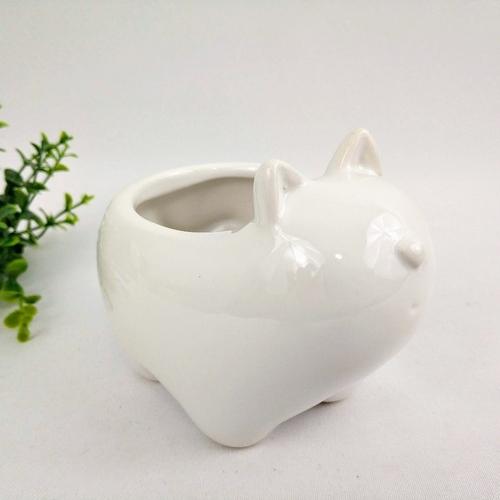 Cachepot em Cerâmica Gato Pequeno Branco